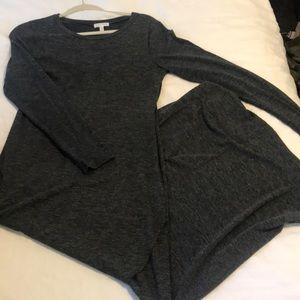 Long Leith maxi dark grey dress {form fitting}